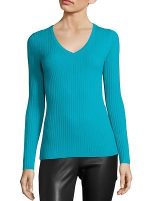 COLLECTION Long Sleeve Ribbed V-Neck Sweater