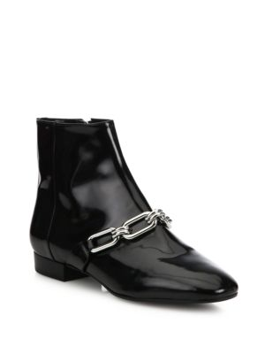 michael kors female 188971 lennox patent leather booties