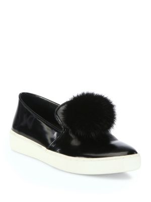 michael kors female 188971 eddy patent leather mink fur pompom skate sneakers