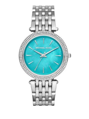 michael kors female darci stainless steel threehand watch
