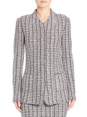 Tweed Knit Zip-Front Jacket