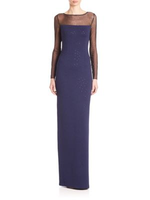 Embellished Illusion Knit Gown