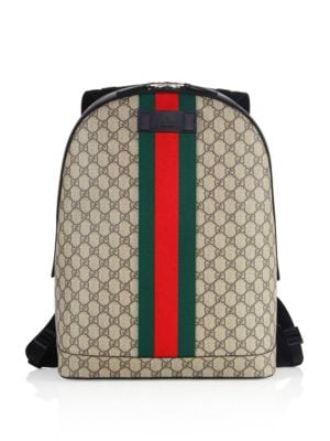 gucci male 187251 large logo printed canvas backpack