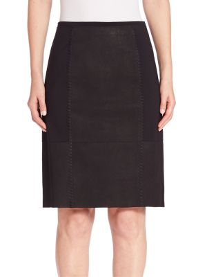 Leary Leather Paneled Skirt