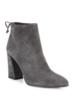 Grandiose Back-Tie Suede Block Heel Booties