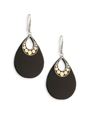 Dot Black Onyx & 18K Yellow Gold Drop Earrings