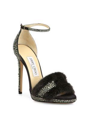 Kaylee Crystal-Embellished Suede & Mink Fur Ankle-Strap Sandals