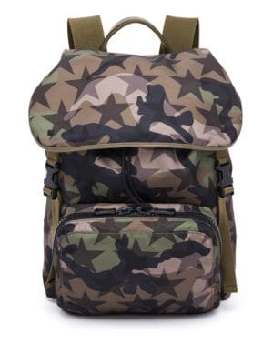 Camouflage Star Nylon & Calf Leather Backpack