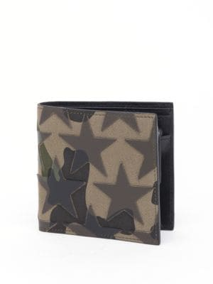 Camouflage Stars Calf Leather Billfold Wallet