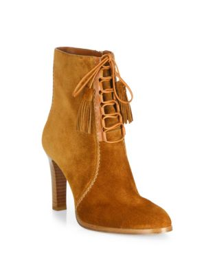 michael kors female 188971 odile suede laceup booties