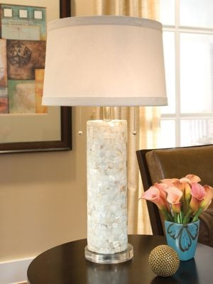 Mother-of-Pearl Column Lamp