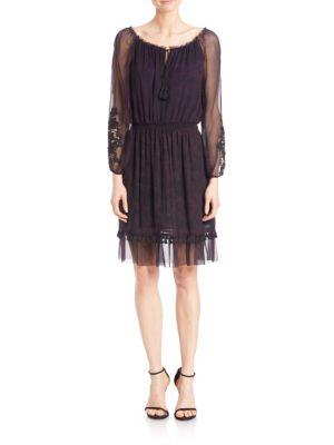 Olsen Silk Tassel Hem Dress