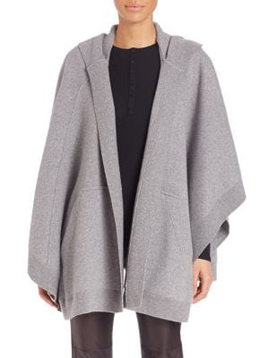 BURBERRY CARLA HOODED KNIT CAPE, GREY