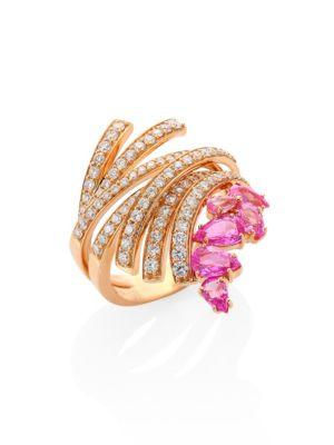 Mirage Diamond, Pink Sapphire & 18K Yellow Gold Ring