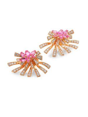 Mirage Diamond & Pink Sapphire Stud & Ear Jacket Set