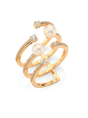 Rainbow White Freshwater Pearl, Diamond & 18K Yellow Gold Ring