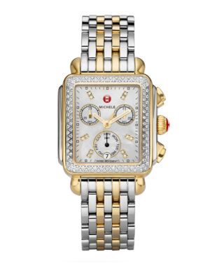 MICHELE WATCHES Deco II Diamond, Mother-Of-Pearl & Two-Tone Stainless Steel Bracelet Watch