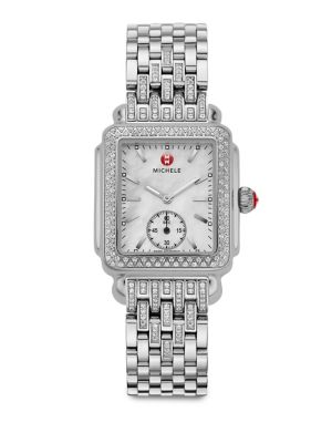 Deco Diamond, Mother-Of-Pearl & Stainless Steel Bracelet Watch