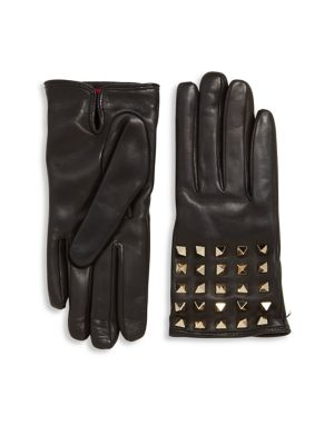 All Over Studs Leather Gloves