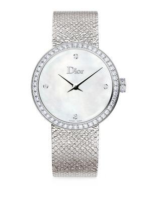 La D de Dior Satine Diamond & Stainless Steel Bracelet Watch