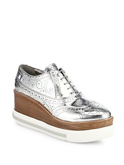 Miu Miu Metallic leather platform sneakers best sale cheap price 7agsf6iI