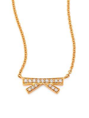 Origami Small Diamond & 18K Yellow Gold Pendant Necklace