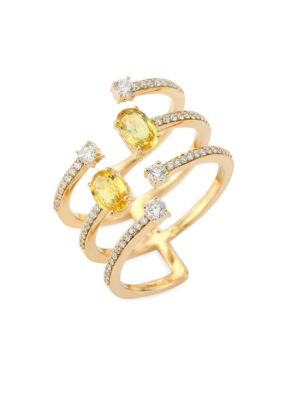 Spectrum Diamond, Yellow Sapphire & 18K Yellow Gold Ring