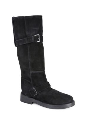 Slouchy Suede Moto Boots