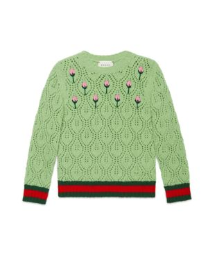 gucci girls  little girls girls flower buds embroidered sweater