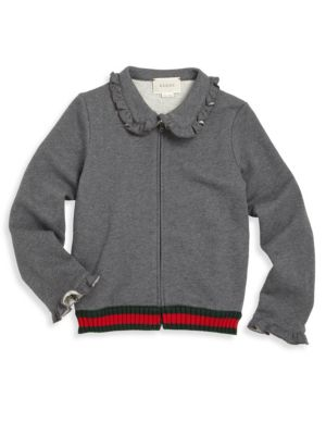 gucci girls 45906 little girls girls ruffle zipfront cardigan