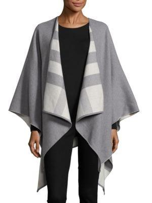 Checked Lining Merino Wool Cape