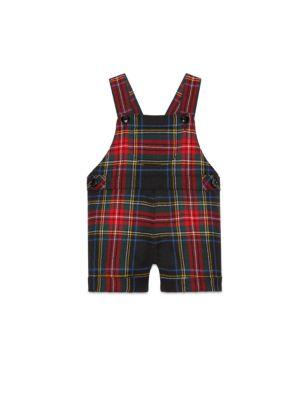 gucci baby babys tartan wool overalls