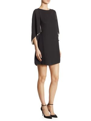 Layered Cape Sleeve Shift Dress