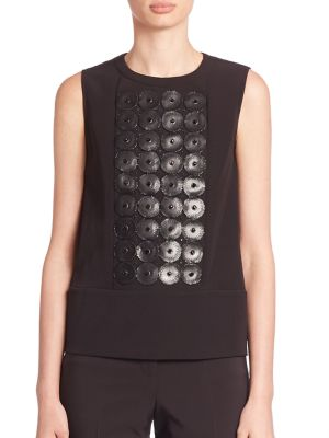 Leather & Bead Embroidered Sleeveless Top