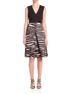 Printed-Skirt Sleeveless Dress