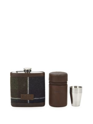 Four-Piece Tartan Hip Flask Set