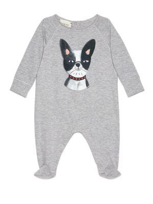gucci baby babys dogprint cotton sleepsuit