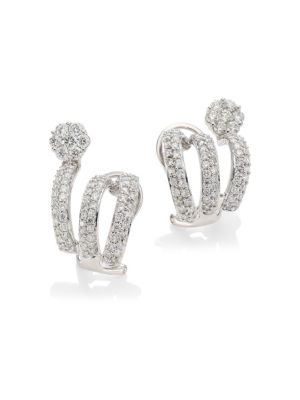 HUEB Diamond Flower 18K White Gold & Diamond Cuff Earrings