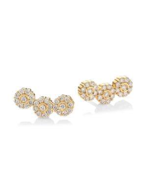 HUEB Flower Diamond & 18K Yellow Gold Ear Climbers