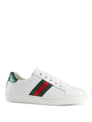 gucci baby babys toddlers kids leather laceup sneakers