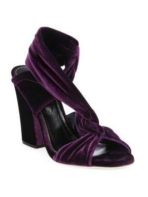 sergio rossi female 248826 moulage velvet blockheel sandals