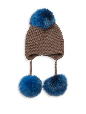 Triple Pom Knit Cashmere & Fox Fur Beanie 0400090614656
