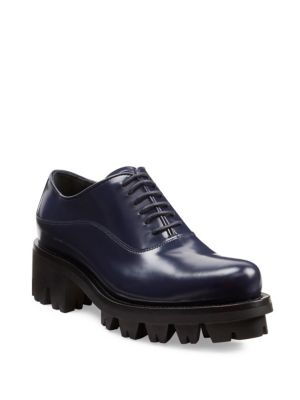 Lug-Sole Leather Lace-Up Oxfords