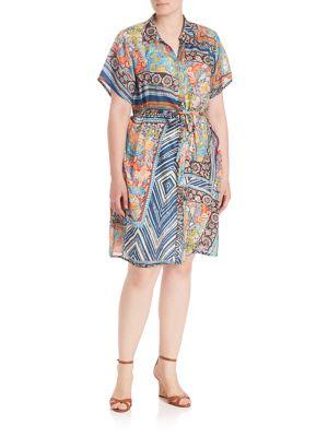Arroyo Button-Down Silk Dress plus size,  plus size fashion plus size appare