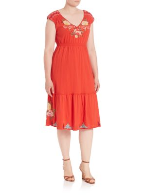 Cecilia Cotton Embroidered Dress plus size,  plus size fashion plus size appare