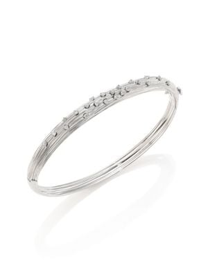 HUEB Plisse 18K White Gold & Diamond Bangle
