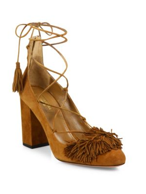 Wild Fringed Suede Lace-Up Block-Heel Pumps