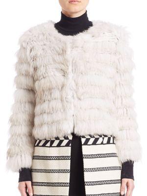 Fawn Rabbit Slive Fox Fur Jacket
