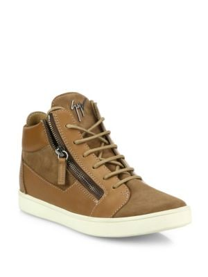 Leather & Suede Side-Zip Sneakers