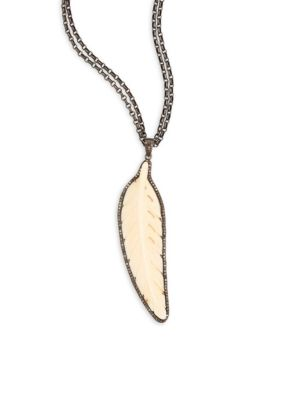 NINA GILIN Diamond & Bone Feather Pendant Necklace/32""